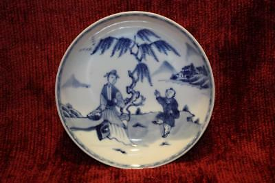 Fine 18thC Chinese Qing Dynasty Blue & White Saucer Dish Possibly Kangxi EXC