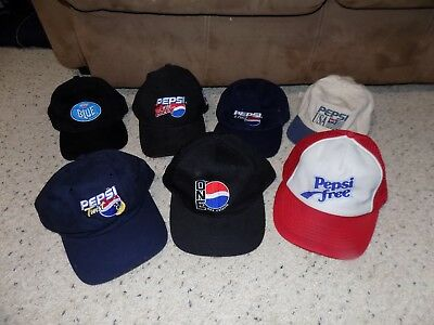 Lot of 8 Different Pepsi Snapback Baseball Caps One Blue Free Edge Twist USA