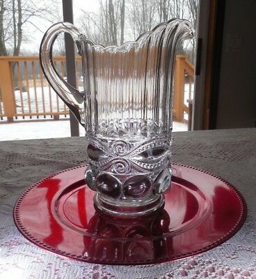 Cut Glass Hotel Pitcher Decorative Clear Heavy Glass VERY OLD