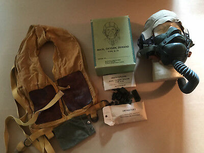 A-14 Oxygen Mask w/Box, B-5 Life Preserver (Mae West) and AN-H-15 Helmet Lot