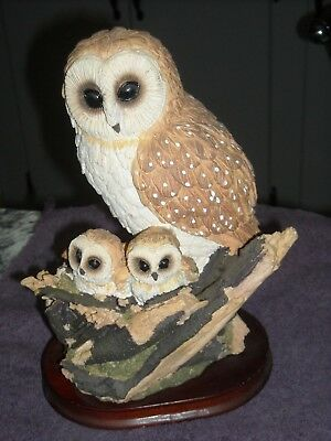 Barn Owl Figurine Decorative Collectible Bird With 2 Babies Baby Owls