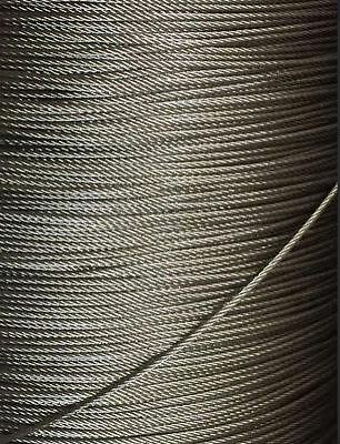 """1/16"""" 7x7 Stainless Steel T316 Cable Wire Rope - 50'"""