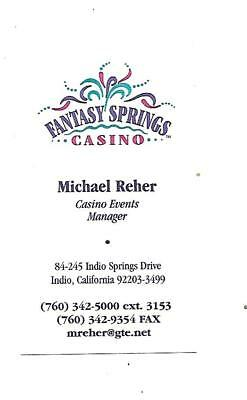 Fantasy Springs Casino Business Card   Indio, California