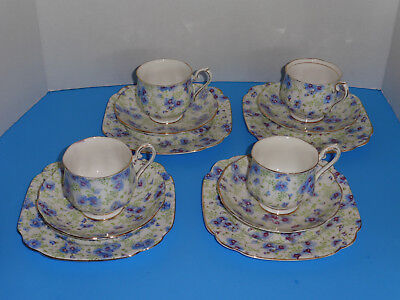 12 Piece Royal Albert Crown China~Pansy Chintz ~4 Trio Sets~Plate Cup Saucer Lot