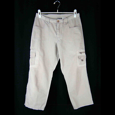 COLUMBIA Womens Vertex Pants 8 Khaki Cotton Cargo Capri Zipper Snap Pockets