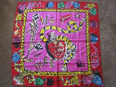 80's Vintage Escada Scarf News from The Tiger Silk Made In Italy 34""