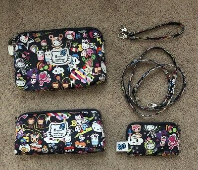 JU JU BE Tokidoki Hello Kitty  Sanrio Dream World COMPLETE Be Set  Pouches Baby