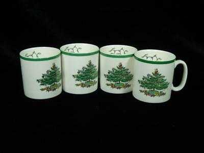 Spode Christmas Tree Coffee Cups, Lot of 4, England, Holiday, Local Free Shpg
