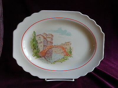 Vintage China Oval Serving Platter, W.S. George, Lido, Canarytone, Venice Canals