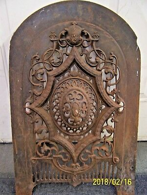 Ornate Victorian Cast Iron Fireplace Summer Cover - 1850's -T. Bent & Son  N.y.