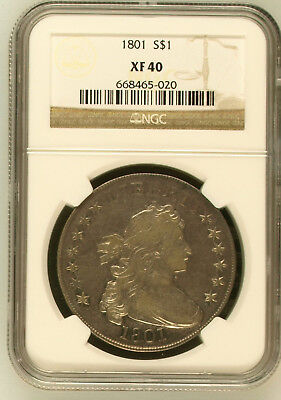 Slightly Prooflike 1801 Draped Bust Dollar NGC XF40 - $5800 NGC list price