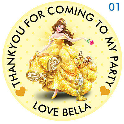 "30 x Personalised Princess Belle Round 50mm 2"" Party Stickers thank you labels"