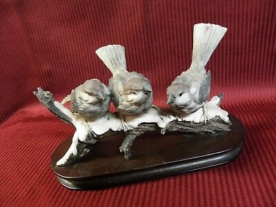 Capodimonte Marked 3 Gray Birds Snowy Branch Figurine Armani Signed Wood Base