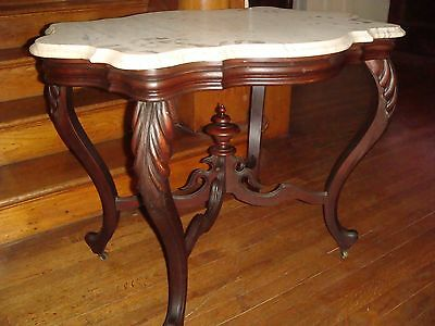 Antique Victorian Walnut Marble Top Parlor Table