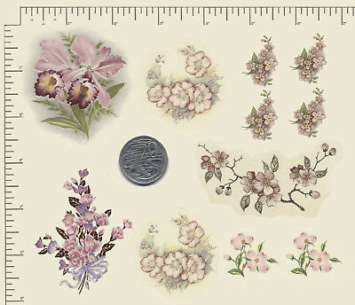 11 Waterslide ceramic decals Decoupage Flowers Pink floral mix Various sizes R36