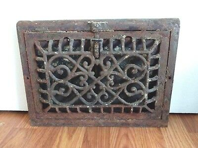 "Vintage Ornate 8""X 12"" Cast Floor Wall Air Grate Heat Register Vent"