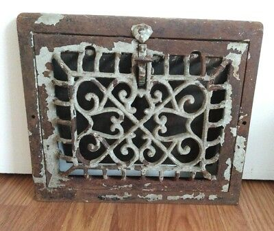 "Vintage Ornate 8""X 10"" Cast Floor Wall Air Grate Heat Register Vent"