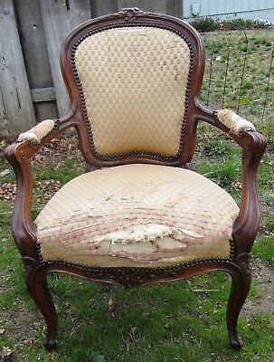 Very Fine Carved Antique French Fruit Wood Arm Chair