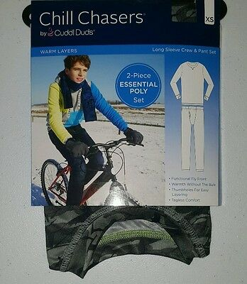 Chill Chasers by Cuddl Duds Boys Warm Layers 2 Piece Set Camouflage Medium New