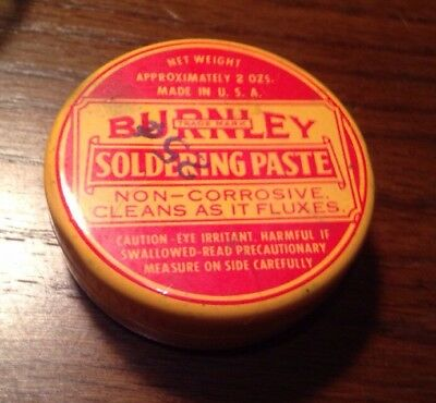 Vtg Collectible Tin Can Burnley Soldering Paste Nice !!