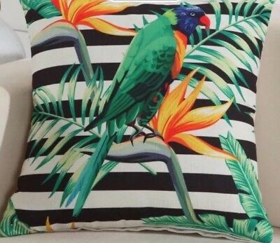 Green Parrot Black Stripe Bird Of Paradise Palm Leaf Cushion Cover 🌾
