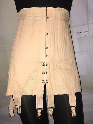 Vtg Antique Boned Cotton Corset Edwardian Lace Up Hook Eye Victorian Steam Punk
