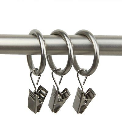 Rod Desyne 10 Count 1-Inch Curtain Rings with Clip for Windows, Satin Nickel