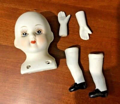 Porcelain Doll Parts,  Head, Hands, and Legs