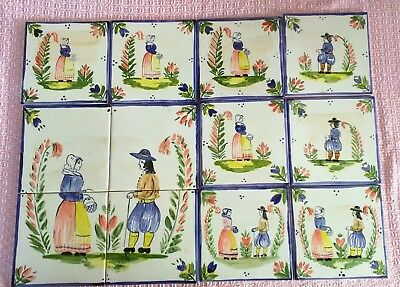 "Set of 12 hand painted ""French Quimper"" tiles"