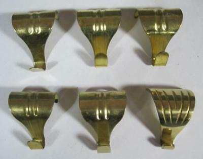 Vintage/antique-style gold painting/picture rail hanging hooks x 6