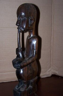 "11 1/2"" Tall PIPE SMOKING AFRICAN MAN Carved Wood"
