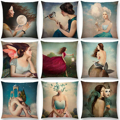 Shakespeare Fantasy Painting Pillow Case Lovely Girl Moon Night Cushion Cover