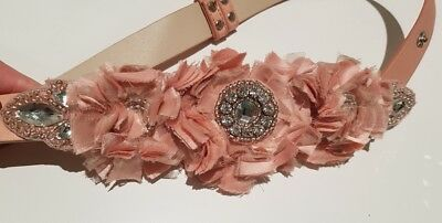 Alannah Hill pink leather belt flowers and gems s/m