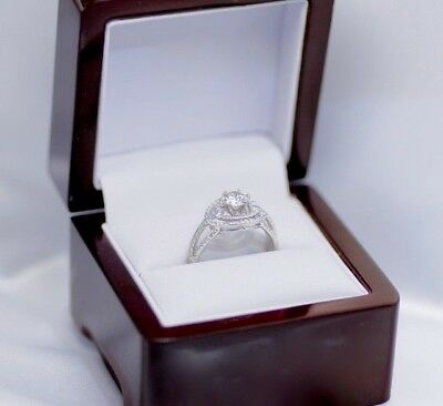 Solid 18K white Gold 1.17 Ct Diamond Engagement Wedding Rings