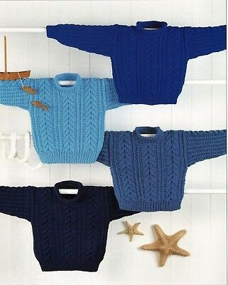 Childrens Aran  Easy Knit Jumper/Sweater. KNITTING PATTERN - PDF 412