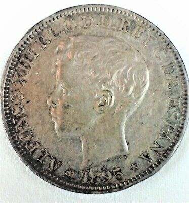 "1895 PUERTO RICO ONE PESO Spanish Silver ""Colonial"" Crown Size pre-US colony"