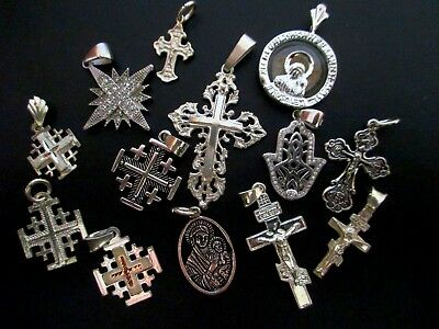 Sterling Silver Lot of 13 Assorted Crosses Pendants NOT SCRAP From Jerusalem 32g