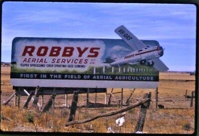 1950's 35 Mm Colour Slide Billboard Robby's Aerial Services Spraying Agri Sa B67