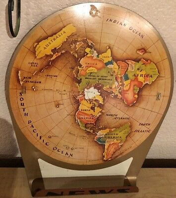 Replogle Globes Air Age Map Of The World Metal News Holder Copyright 1953