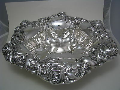 "REDLICH STERLING SILVER BOWL DISH ""Magnificent Roses"" by Redlich & Co.1900s Rare"