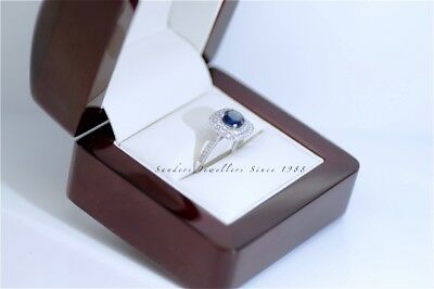Solid 18K Gold 1.60 Ct Blue Sapphire Diamond Engagement Wedding Rings