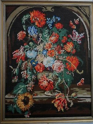 Tapestry Flowers Completed & Framed Professionally Worked  Embroidery Cottons