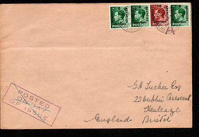 Morocco Agencies 1937 FIRST DAY COVER? to BRISTOL, ENGLAND, Centimes Overprint