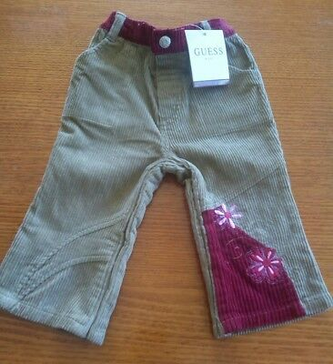 Guess baby girl size 12m fawn beige maroon pink cord jeans pants
