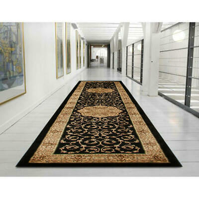 80x300cm Runner Runner Floor Rug ANKARA Black, Ivory Oriental Floral 11mm IS3BI