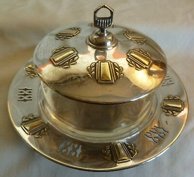 Art Nouveau  Deco  Argentor Vienna  Silverplated & Glass  Cheese / Butter Dish