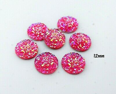 Pink 12mm Cabochons - Druzy Resin Cabs - Mermaid Princess Sparkly Cabs  FBC155