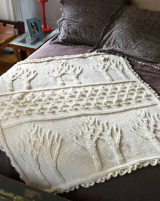 Crochet Tree of Life Afghan Throw, Size 44 x 56 Inch VINTAGE PATTERN - PDF  450