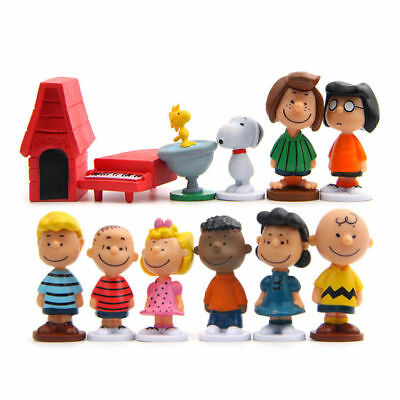 12Pcs Peanuts Charlie Brown Snoopy Lucy Franklin Cake Topper Play set Toy NEW