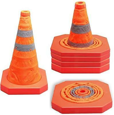 """Pack of 4 Collapsible Traffic Cone Pop up Reflective Road Garage Safety 15.5"""""""